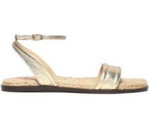 Woman Metallic Leather Sandals Gold