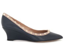 Studded Patent-leather Wedge Pumps Navy