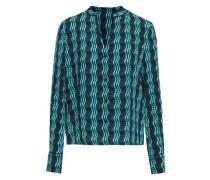 Printed Silk Crepe De Chine Shirt Dark Green