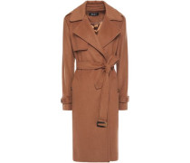 Woman Belted Wool-blend Felt Coat Light Brown