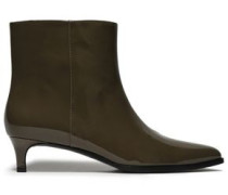Patent-leather Ankle Boots Army Green