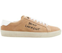 Embroidered Suede Sneakers Sand
