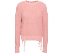 Lace-up Cotton And Cashmere-blend Sweater Baby Pink
