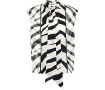 Woman Tie-neck Zebra-print Silk-satin Top Black