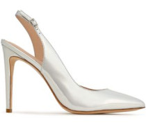 Melrose metallic leather slingback pumps