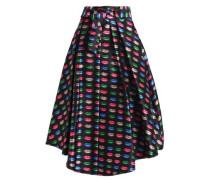 Pleated printed twill midi skirt