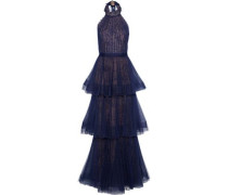 Tiered Point D'esprit-lace Halterneck Gown Navy Size 16