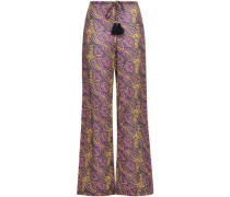 Estela Tasseled Cotton-blend Gauze Wide-leg Pants Purple