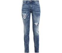 Distressed Printed High-rise Skinny Jeans Dark Denim  4