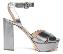 Metallic Leather Platform Sandals Gunmetal