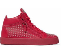 Studded leather high-top sneakers