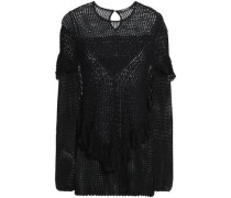 Ruffled Open-knit Pima Cotton Top Black