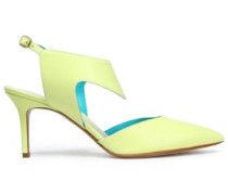 Neon leather slingback pumps