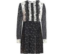 Ruffle-trimmed printed silk-blend georgette mini dress