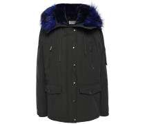 Woman Faux Fur-trimmed Woven Hooded Down Jacket Dark Green