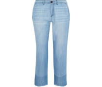 Marinne Cropped Frayed Mid-rise Straight-leg Jeans Light Denim Size 0