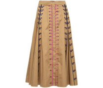 Flared Embroidered Cotton-poplin Midi Skirt Camel Size 16