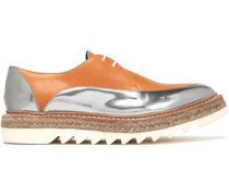 Smooth and mirrored-leather espadrille platform brogues
