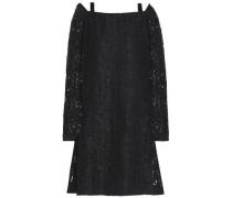 Cutout cotton-blend corded lace dress