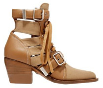 Woman Rylee Cutout Leather And Canvas Ankle Boots Light Brown