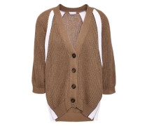 Woman Bead-embellished Ribbed Cotton Cardigan Light Brown