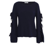 Bow-detailed Mélange Knitted Top Navy