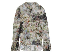 Tie-neck Floral-print Silk-chiffon Blouse Multicolor Size 0