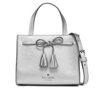 Bow-embellished Metallic Pebbled-leather Shoulder Bag Silver Size --