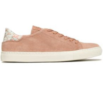 Floral-print leather -trimmed suede sneakers