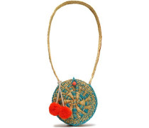 Pompom-embellished Straw Shouldr Bag Ecru Size --