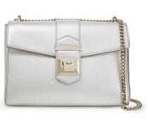 Marianne Metallic Textured-leather Shoulder Bag Silver Size --