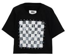 Woman Cropped Printed Cotton T-shirt Black