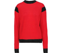 Mesh-trimmed Wool-blend Sweater Red