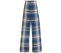 Checked cotton-blend wide-leg pants