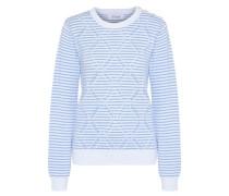 Striped Jacquard Cotton Sweater White