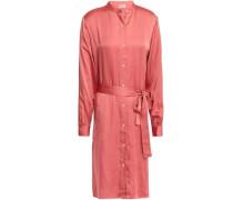 Belted Satin Shirt Dress Antique Rose