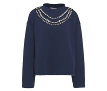 Woman Crystal-embellished Leather-trimmed French Cotton-terry Sweatshirt Navy