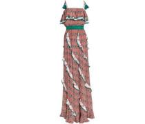 Ruffle-trimmed Printed Silk Crepe De Chine Maxi Dress Orange