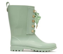Studded Lace-up Pvc Rain Boots Mint