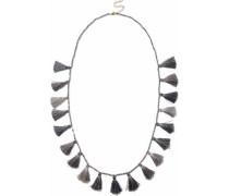 Gunmetal-tone beaded tasseled necklace