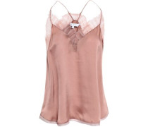Woman Tulle-trimmed Silk-charmeuse Camisole Antique Rose