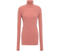Ribbed Wool-blend Turtleneck Sweater Antique Rose