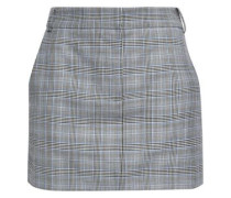 Prince Of Wales Checked Wool And Silk-blend Mini Skirt Gray