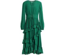 Asymmetric ruffled crepe dress