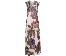 Lace-up floral-print crepe de chine maxi dress