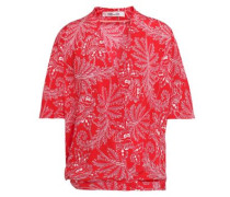 Printed Silk Crepe De Chine Top Red Size 0