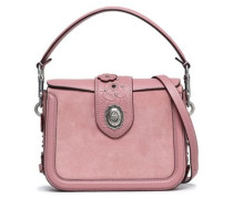 Floral-appliquéd leather-trimmed suede shoulder bag
