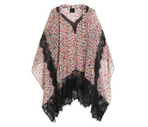 Lace-trimmed floral-print silk-georgette top