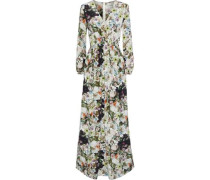 Pleated Floral-print Silk-crepe Maxi Dress Multicolor Size 0