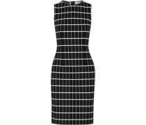Checked jacquard-knit cotton-blend dress